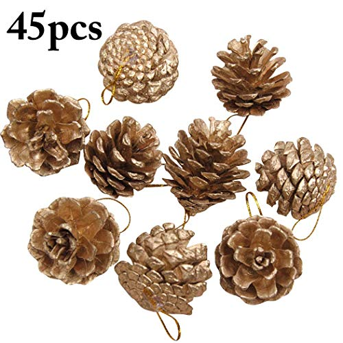 Funpa 45PCS 1.57Inch Christmas Hanging Ornament Natural Pinecone Xmas Tree Decor -