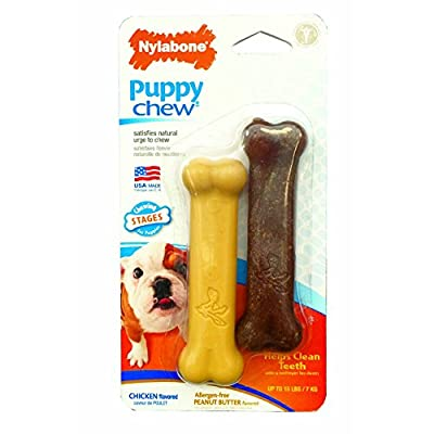 Nylabone Just For Puppies Peanut Butter and Chicken Flavored bone Puppy Dog Chew Toy, Twin Pack