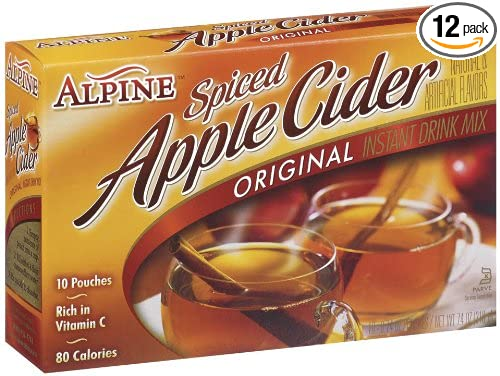 Alpine Spiced Cider Apple Flavor Drink Mix, 10-Count, 7.4-Ounce Pouches (Pack of 12)