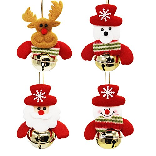 Idealgo Colorful Hanging Decorations for Xmas Christmas Party Tree Merry Christmas Tree Decoration Ornaments Hanging ACC (4, Gold Bells)