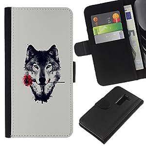 """A-type (Lobo con Rose"""") Colorida Impresión Funda Cuero Monedero Caja Bolsa Cubierta Caja Piel Card Slots Para LG G2 D800"""
