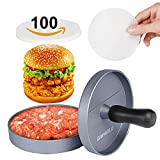 GWHOLE Non-stick Hamburger Press with 100 Wax Discs, Ideal for BBQ, Lifetime Warranty