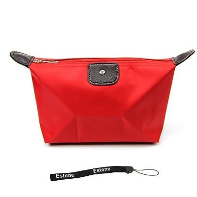 e009b5596b Estone Women Waterproof Zipper Cosmetic Makeup Bag Handbag Purse Pouch Pen  Pencil Case (Red)