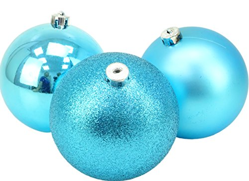 3-150mm Extra Large Baubles - Shiny, Matte & Glitter Design - Christmas Decorations (Turquoise) (Baubles Turquoise Christmas)