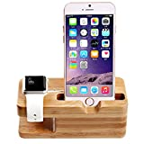 Apple Watch Stand,Bamboo Desktop Charger Charging Station Holder for iPhone and Apple Watch 38mm 42mm,Other Smartphone.