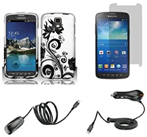 Quaroth Samsung Galaxy S4 Active - Accessory Combo Kit - Black Orchid Vines on Silver Design Shield Case + Atom LED Keychain...