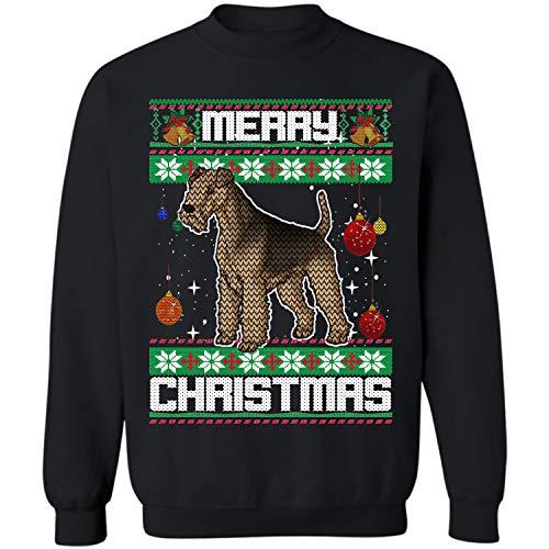 Xmas Lakeland Terrier Dog Ugly Christmas Crewneck Sweatshirt (Black - S)]()