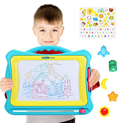 NextX Magnetic Drawing Board Write Learn Creative Toy (Blue-Yellow)