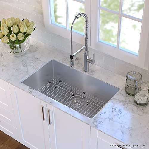 Kraus KHU100-32-1650-41SS Stainless Steel 32 Combo with Handmade Undermount Single Bowl 16 Gauge Sink and Nola Commercial Kitchen Faucet with Soap Dispenser