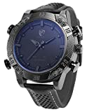 Shark Men's LED Date Day Alarm Digital Analog Quartz Black Leather Band Wrist Watch SH262 Grey