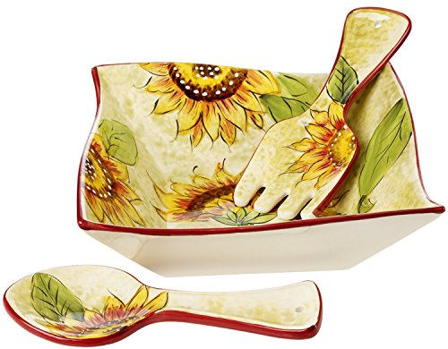 Cucina Italiana Ceramic Large Salad, Pasta Serving Bowl with Servers Square, 60 Oz,10 x 10 Inches, - Salad Ceramic Servers
