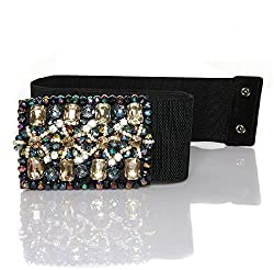 Crystal Elastic Wide Diamond Belt