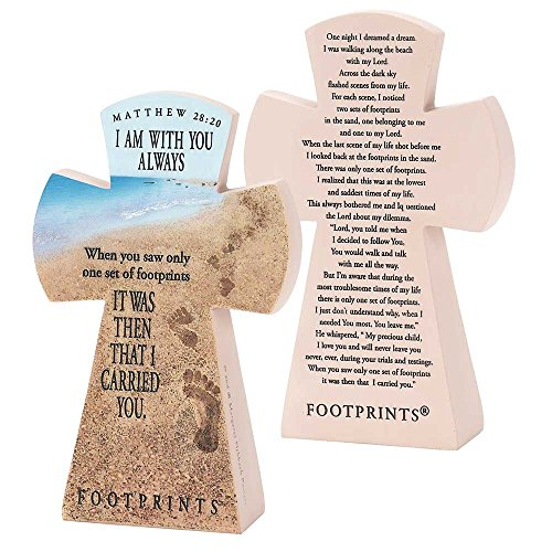 Matthew 28:20 Always With You Footprints 7.5 inch Resin Stone Table Top Cross Figurine