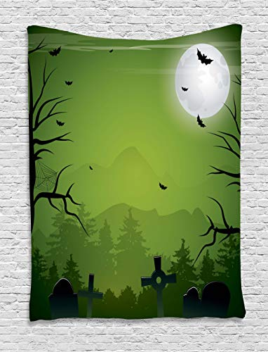 Lunarable Halloween Tapestry, Tombstones Cemetery Full Moon and Bats on Green Toned Backdrop, Wall Hanging for Bedroom Living Room Dorm, 40 W X 60 L Inches, Lime Green Charcoal Grey Grey