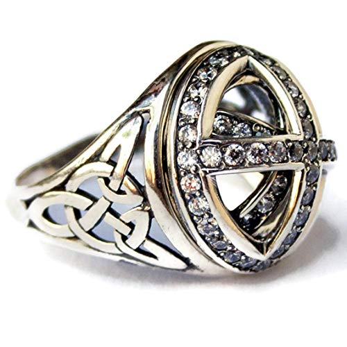 (925 Sterling Silver Trinity Celtic Knot and Cross Signet Ring with Zircon Vintage Style Statement Rings for Men and Women Handmade Jewelry)