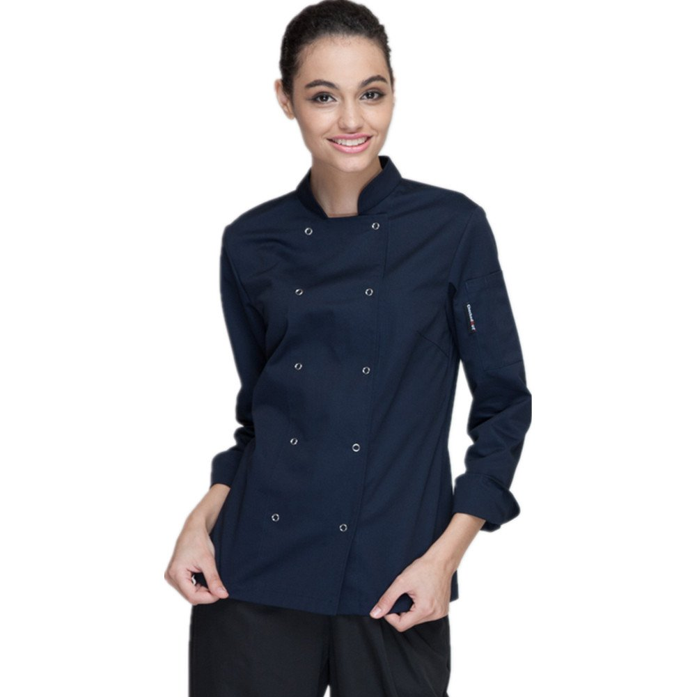 XINFU Cheflife Colored Chef Uniforms Long Sleeve and Short Sleeve Coat for Women