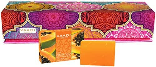 Gift Sets Handmade Herbal Soaps, Pack of 10 X 75 Grams - Vaadi Herbals (Papaya Soap Gift Sets)