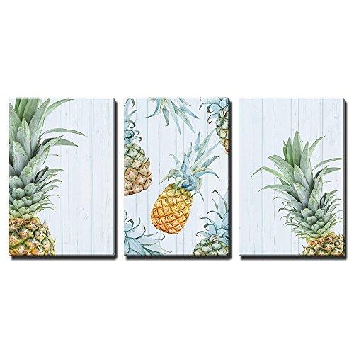 Retro Style Pineapples x3 Panels