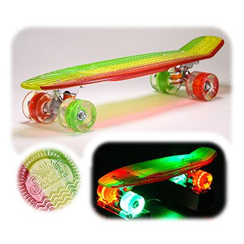 Crystal Complete Deck Set (Sunset Skateboards Rasta Complete Skateboard Deck with Red/Yellow/Grey/Green Wheels, 22-Inch, Rasta Stripe)