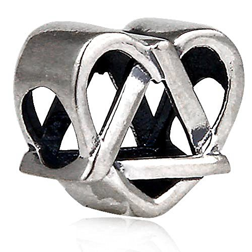 Reflections Adoption Symbol Charm - Antique 925 Sterling Silver Heart Bead Fit DIY - Reflection Symbol For
