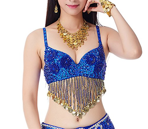 YYCRAFT Women Belly Dance Tribal Sequin Beaded Bra Top Halloween Costume With (Halloween Costumes With Sparkly Bra)