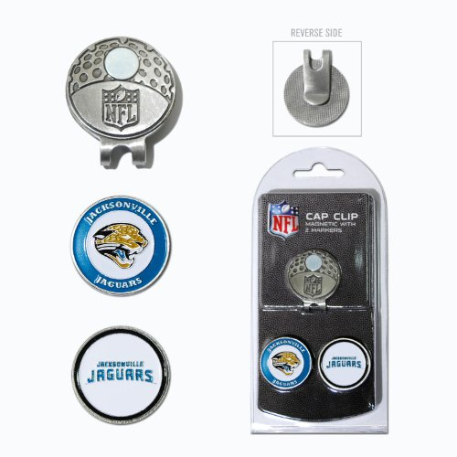 Team Golf NFL Jacksonville Jaguars Golf Cap Clip with 2 Removable Double-Sided Enamel Magnetic Ball Markers, Attaches Easily to Hats