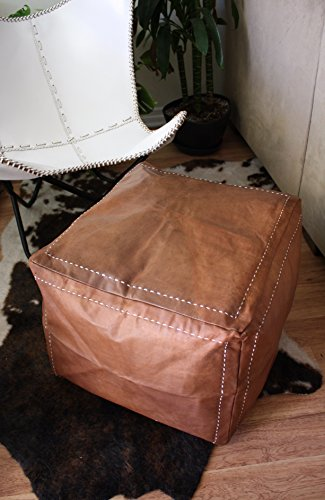 Flair Leather Chair (Six Canyons Square Cognac Leather Ottoman – Authentic Handmade Moroccan Pouf – Delivered Unstuffed – 100% Morocco Tan Goatskin Leather)