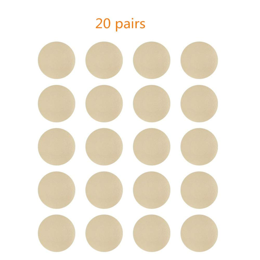NippleCovers, Disposable Breast Pasties Adhesive Bra Petal Tops Nippleless Cover (Beige 20 Pairs Round)