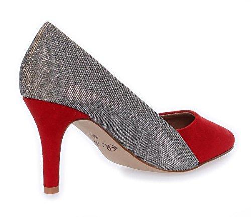 High Heels Stilettos mit Glitzer Schuhe Gr. 36 - 41 Rot/Gold