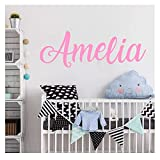 Personalized Wall Sticker, Boys Girls Decal, Nursery Decor, Vinyl Wall Decal Beauty Salon Wall Decals 835 Pink Your Name Height 20 cm