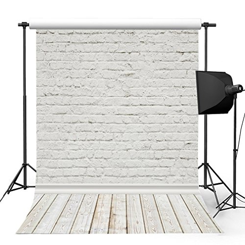 Kooer 5x7ft Ivory White Brick Wall Photography Backdrops White Wooden Floor Photography Backgrounds Photo Studio Prop Baby Children Family Photoshoot Backdrop Customized Various Size