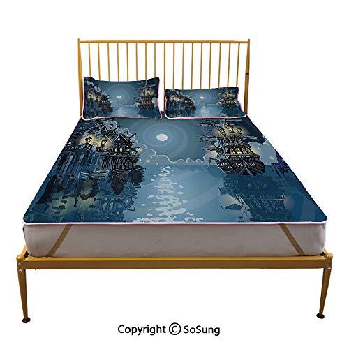 Pirate Creative Full Size Summer Cool Mat,Fantasy Adventure Island Faery Mystery Ships Pirate Cove Bay Swirled Moon Rays Decorative Sleeping & Play Cool Mat,Blue White Green