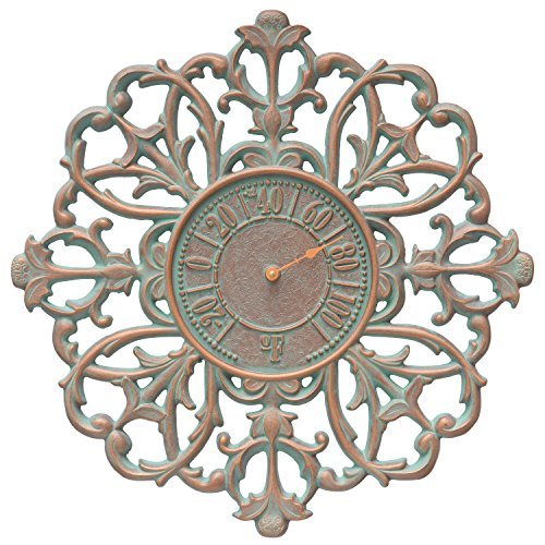 (Whitehall Filigree Silhouette 21-in Indoor Outdoor Wall Thermometer (Copper Verdigris))