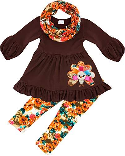 rls Thanksgiving Floral Ribbon Turkey Tunic Legging Scarf Set 8T/3XL ()