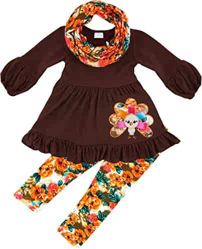 fa8640c75a03 Angeline Boutique Clothing Girls Fall Colors Vintage Floral Scarf Set -  Thanksgiving
