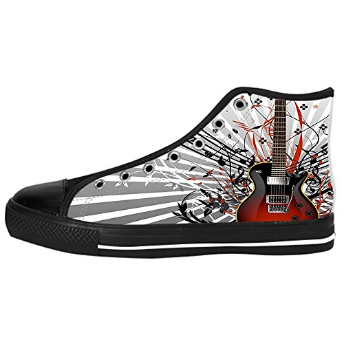 Dalliy Music Note And Guitar Womens Canvas shoes Schuhe Lace-up High-top Footwear Sneakers D