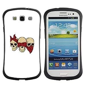 "Pulsar iFace Series Tpu silicona Carcasa Funda Case para SAMSUNG Galaxy S3 III / i9300 / i747 , Cráneo cuadrilla divertido Blanca Bufanda Roja"""