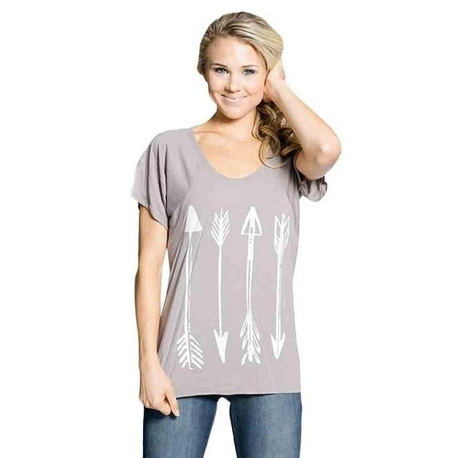 Tongshi Mujeres Moda Manga Corta Tanque Cultivo Tops Blusa T-shirt (Small, Gris