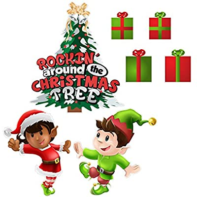 VictoryStore Yard Sign Outdoor Lawn Decorations: Rockin' Around the Christmas Tree, Christmas Lawn Display and Yard Cards 10 short stakes