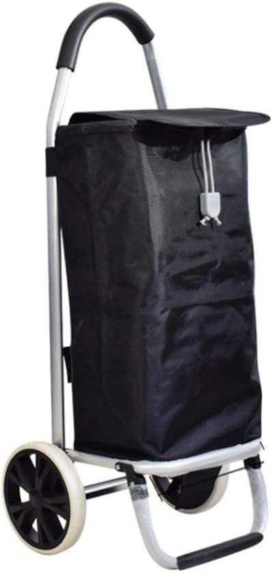 トロリーショッピングカートホームショッピングカート折りたたみトロリークライミング階段ポータブル高齢者牽引カート (Color : Black)