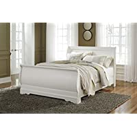 Anarena Traditional White Color Queen Sleigh Bed