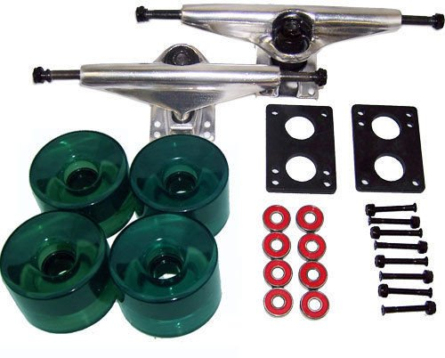 Longboard Skateboard 9.75 In Raw Trucks 76Mm Wheels Green Package