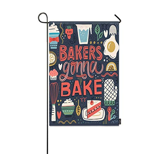 Mugod Bakers Gonna Bake Garden Flag Hand Drawn Lettering in Unique Style with Illustration of Baked Goods Appliances Decorative Spring Summer Outdoor House Flag for Garden Yard Lawn 12 x 18 Inch (Baked Goods Ship)