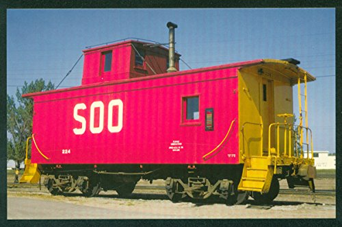 (Soo Line Red Caboose 224 Car Stevens Point Wisconsin WI Railroad Train Postcard)