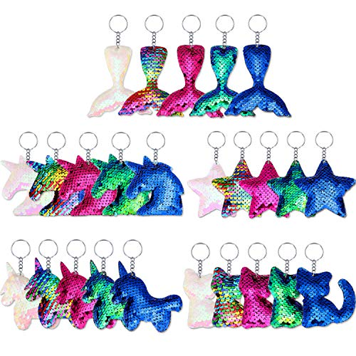 (Yaomiao 25 Pieces Sequin Keychains Flip Sequins Keychain with Unicorn Mermaid Tail Cat Star Shape for Kids Girls Birthday Party Gifts)