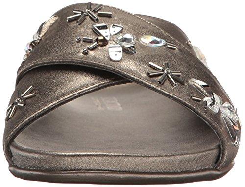 Kenneth Cole Reaction Women's Slim Slip X-Band Upper and Cute Bug Jewels-Metallic Flat Sandal Hematite kwjuKf