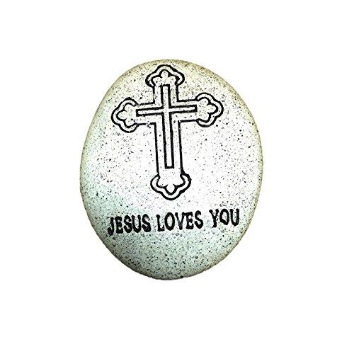 - Classic Engraved Jesus Cross Christian Pebble Stone for Catholic