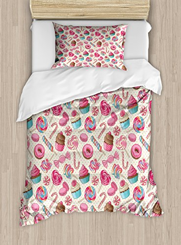 Ambesonne Candy Cane Twin Size Duvet Cover Set, Yummy Sweet