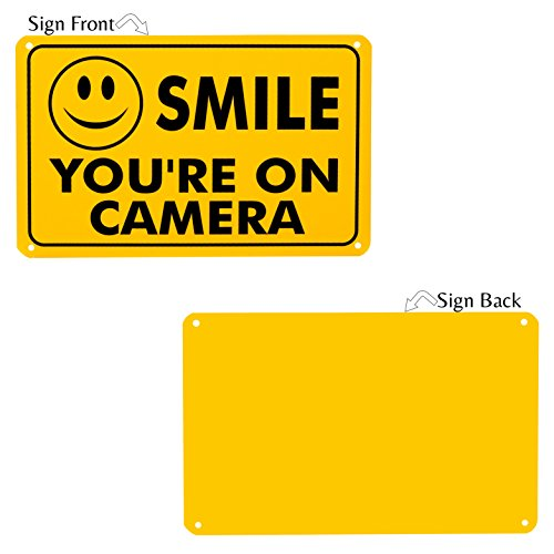 Smile You're On Camera Rust Free Outdoor Waterproof Fade Resistant UV Protective Ink Video Surveillance Security Sign Yellow and Black Video CCTV 11