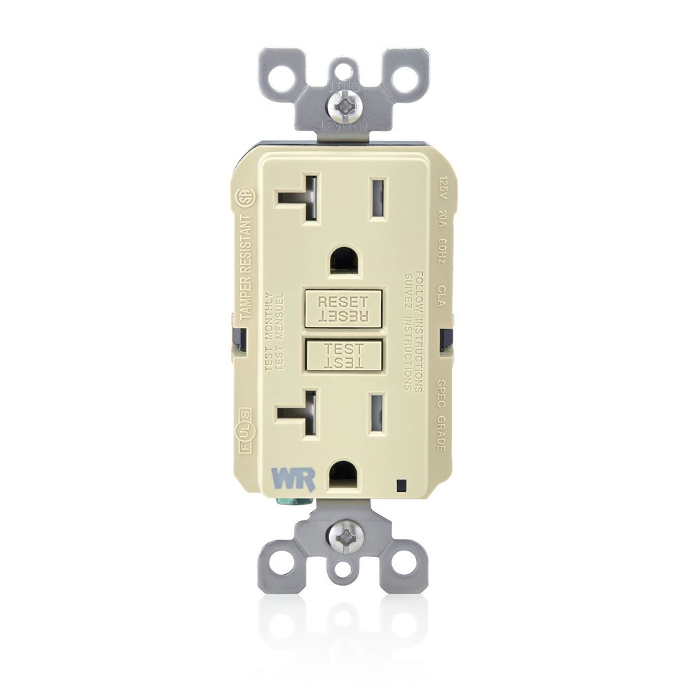 Grey 20 Amp Leviton GFWT2-GY Self-Test SmartlockPro Slim GFCI Weather-Resistant and Tamper-Resistant Receptacle with LED Indicator
